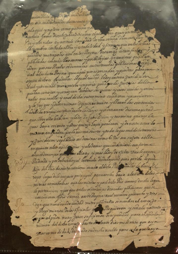 Carta de fundación de la ciudad metropolitana de nuestra señora de Monterrey. Fechada el 20 de septiembre de 1596, dictada por el capitán Diego de Montemayor, y firmada por el escribano Diego Díaz de Berlanga