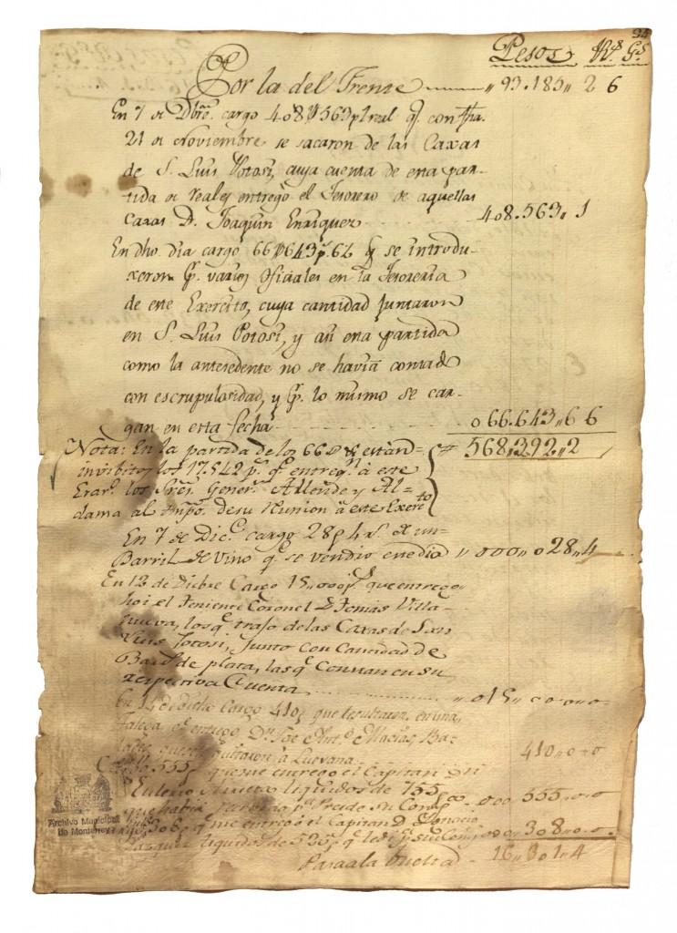 Libro de cuentas que el coronel Rafael Iriarte organizó durante octubre de 1810 y marzo de 1811 del Ejército Insurgente.