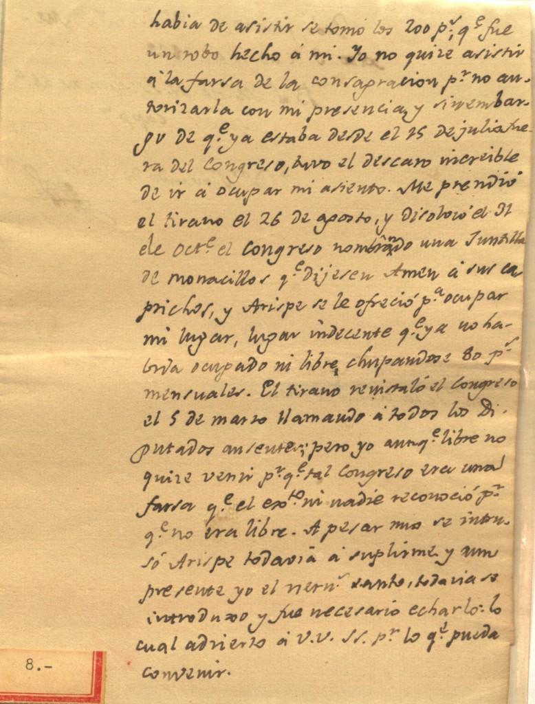 Carta del Padre Mier a Bernardino Cantú, quejándose de Miguel Ramos Arizpe, y de la junta nombrada por Iturbide (1822). 02.