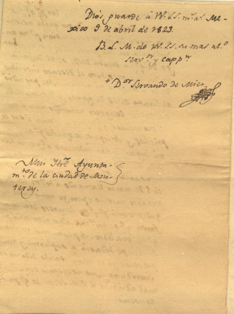 Carta del Padre Mier a Bernardino Cantú, quejándose de Miguel Ramos Arizpe, y de la junta nombrada por Iturbide (1822).