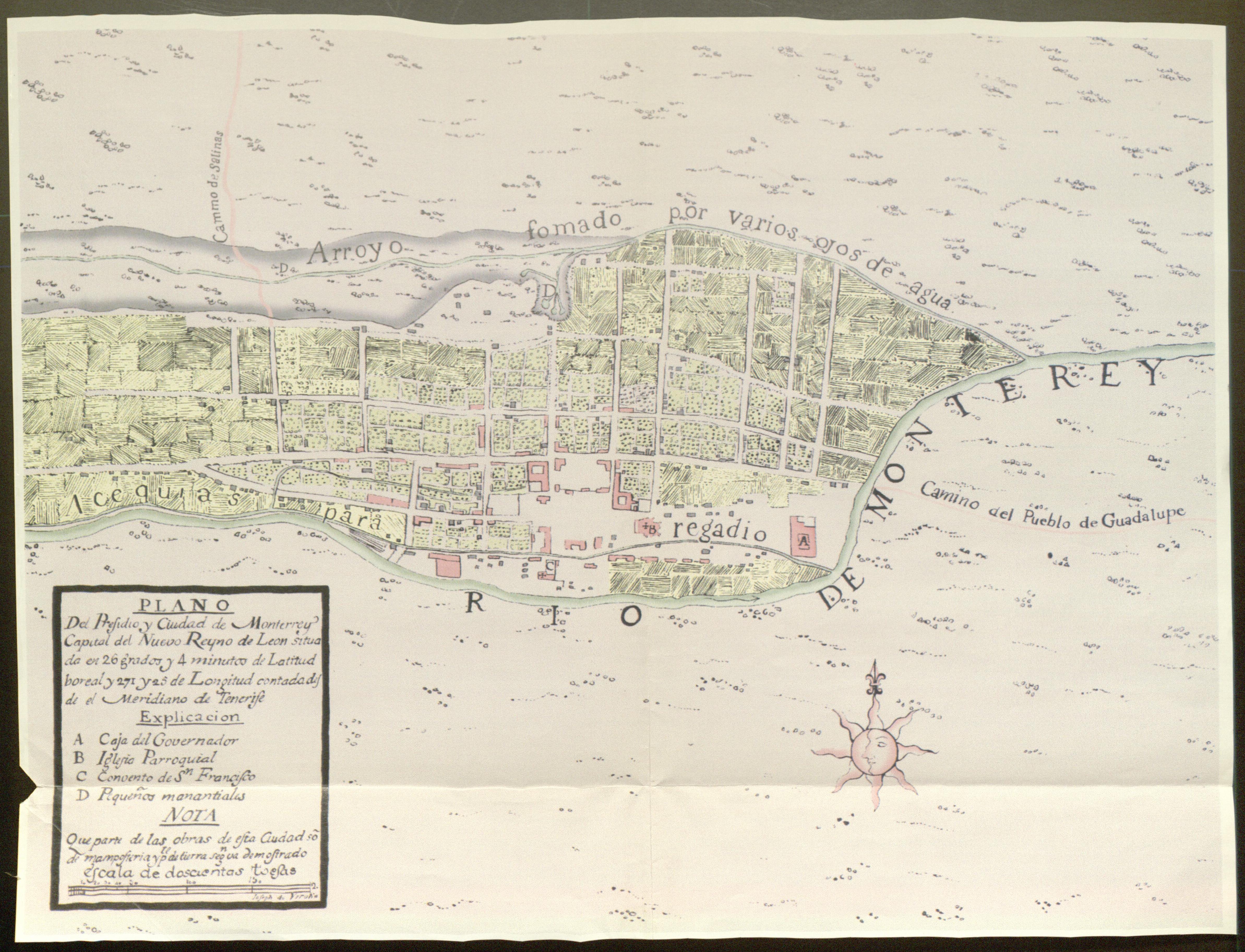 Primer plano de la ciudad de Monterrey correspondiente al año de 1765