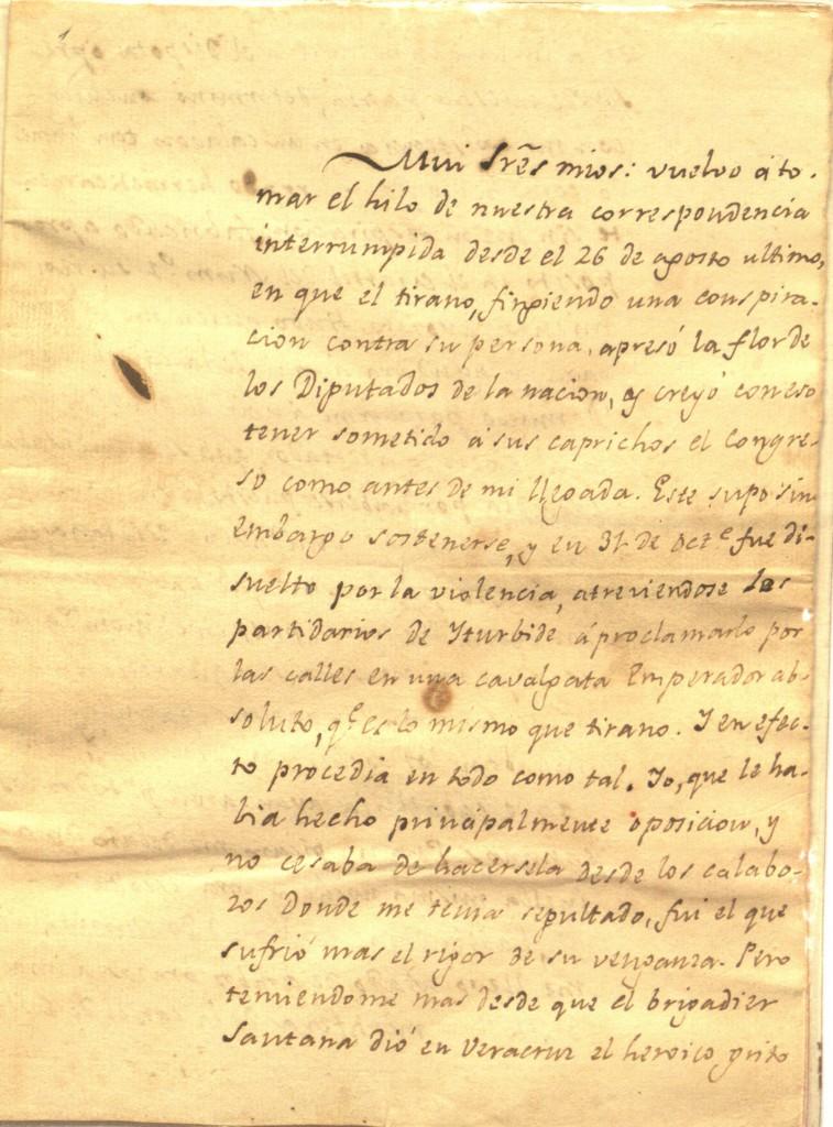 Carta del Padre Mier informando sobre la disolución del Congreso Nacional  por Iturbide en 1822 y su encarcelamiento por órdenes del Emperador.
