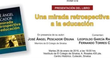 José Ángel Pescador presentará su libro en El Colegio de Sinaloa.