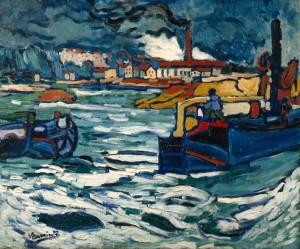 Maurice de Vlaminck- Barges on the Seine